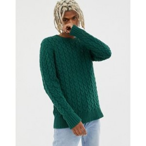 Tommy Jeans cable knit flag logo sweater in green