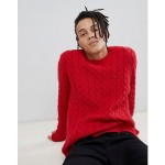 Tommy Jeans cable knit flag logo sweater in red
