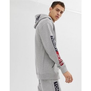 Tommy Jeans regular fit full zip hoodie with essential sleeve graphics in light gray