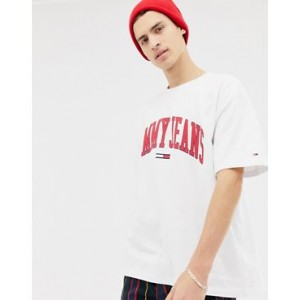 Tommy Jeans relaxed fit collegiate capsule t-shirt in white