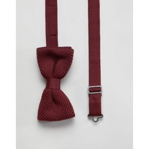 Twisted Tailor knitted bow tie in burgundy