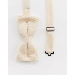 Twisted Tailor knitted bow tie in cream