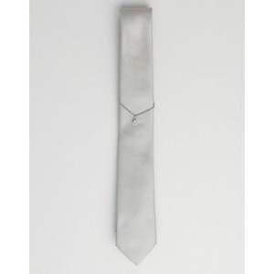 Twisted Tailor tie in gray with chain and diamond