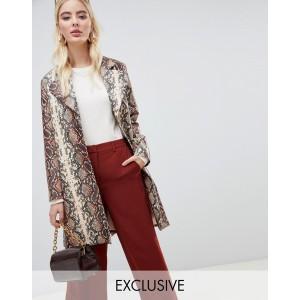 UNIQUE21 oversized coat in snake print