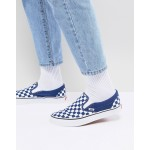 Vans Classic Checkerboard Slip-Ons In Blue VA38F7QCN