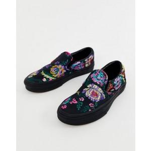 Vans Classic Slip-On black floral satin sneakers