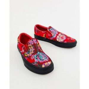 Vans Classic Slip-On red floral satin sneakers