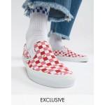 Vans Slip On checkerboard plimsolls in pink Exclusive at ASOS