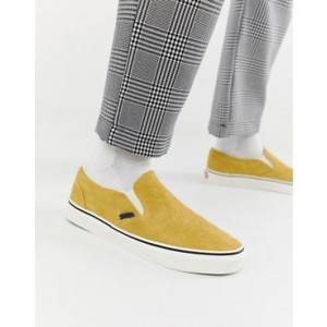 Vans Slip-On hairy suede plimsolls in yellow VN0A38F7ULR1