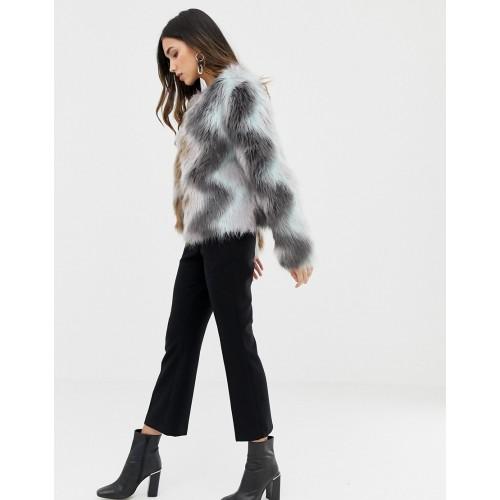 Vila Zig Zag Faux Fur Jacket