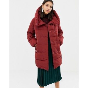 Warehouse asymmetric padded coat in red