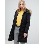 Warehouse longline padded coat in black