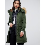 Warehouse padded parka coat with faux fur trim in khaki
