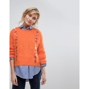 Willow And Paige Fluffy Sweater With Sequin Embellishment