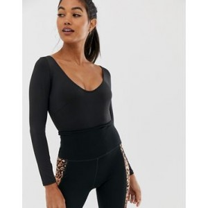Wolf & Whistle Exclusive to ASOS Back Detail Bodysuit In Black
