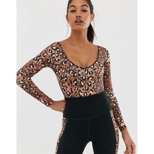 Wolf & Whistle Exclusive to ASOS Back Detail Bodysuit In Leopard