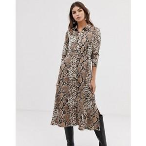 Y.A.S snake print midi shirt dress