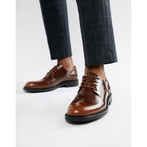 Zign chunky lace up shoes in brown high shine
