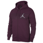 Jordan Flight Graphic Fleece Full-Zip Hoodie - Mens / Bordeaux/Anthracite/Reflective Silver