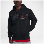 Jordan Flight Graphic Fleece Full-Zip Hoodie - Mens / Black/Dark Grey/University Red