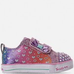 Girls Toddler Skechers Twinkle Toes: Shuffle Lite - Sparkly Hearts Light Up Hook-and-Loop Casual Shoes