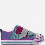 Girls Little Kids Skechers Twinkle Toes: Twinkle Lite - Shiny Smilez Light Up Hook-and-Loop Casual Shoes