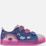 Girls Little Kids Skechers Twinkle Toes: Shuffle Brights - Rainbow Glow Light Up Hook-and-Loop Casual Shoes
