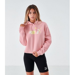 Womens Puma Elevated Essentials Cropped Fleece Hoodie