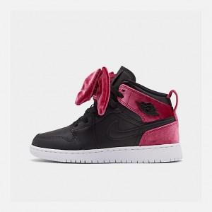 Girls Big Kids Air Jordan 1 Mid Bow Casual Shoes