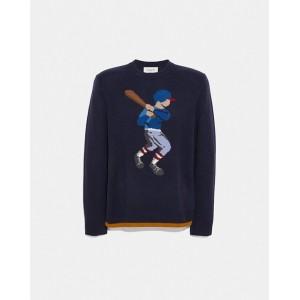 baseball intarsia sweater