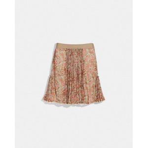 retro floral print pleated skirt