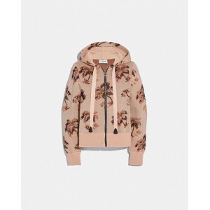 palm tree print jacquard hoodie