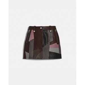 leather patchwork mini skirt