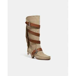fringe buckle boot
