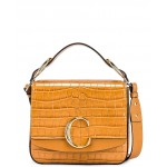 Small C Embossed Croc Box Bag