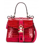 Small Aby Embossed Croc Day Bag