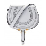 Small Marcie Grained Calfskin Saddle Bag