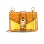 Mini Aby Chain Tricolor Embossed Croc Shoulder Bag