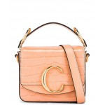 Mini Chloe C Embossed Croc Box Bag