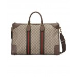 GG Large Carry-On Duffle Bag In Beige Ebony & Green & Red