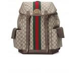 GG Medium Backpack In Beige Ebony & Green & Red