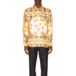 Paneled Scarf Print Silk Shirt