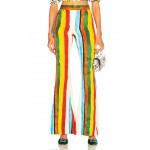 Rainbow Stripe Brocade Flared Trousers
