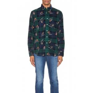 Printed Corduroy Long Sleeve Shirt