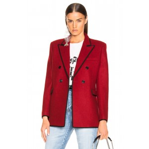 Contrast Trim Double Breasted Blazer