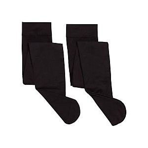 John Lewis & Partners Girls Opaque Tights, Pack of 2, Black