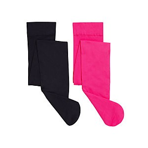 John Lewis & Partners Girls Opaque Tights, Pack of 2, Pink/navy