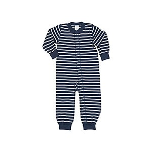 Polarn O. Pyret Baby Stripe Sleepsuit, Blue/White