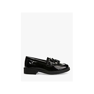 Geox Childrens Agata Slip On Leather Loafers, Patent Black