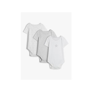 John Lewis & Partners Baby GOTS Organic Cotton Stars and Stripe Bodysuits, Pack of 3, Grey/White